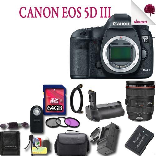 Canon Eos 5D Mark Iii Dslr Camera Kit With Canon 24-105Mm F/4L Is Usm Af Lens 64Gb Package