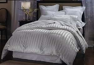 LUXURIOUS 1200 Thread Count Queen 1200TC Goose Down Comforter 750FP, 50oz, White Stripe 1200 TC, 100% Egyptian Cotton