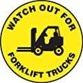 "Accuform Signs MFS829 Slip-Gard Adhesive Vinyl Round Floor Sign, Legend ""WATCH OUT FOR FORKLIFT TRUCKS"" with Graphic, 8"" Diameter, Black on Yellow"