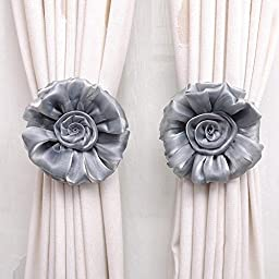 Phoneix 1 Pair Window Curtain Tieback Rose Flower Gray Beautiful Charming