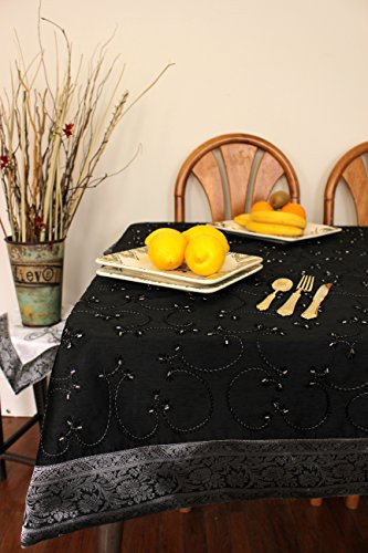 "Hand Embroidered Rectangular Tablecloth (Mystic Black, 52"" X 70"")"
