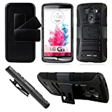 WORW LG G3 Prime Series Hybrid Case Dual Layer Holster with Kickstand and Belt Swivel Clip for LG G3 2014 (Black)