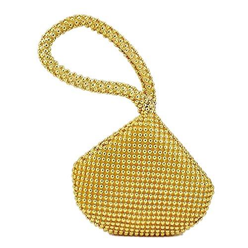 TOOGOO(R) Petit Doux Corps Perle bracelet Poche Forme Portable Soiree Sac porte-monnaie sac -Or