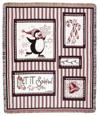 "Snow Penguins Christmas Holiday Tapestry Throw 50"" X 60"" front-969415"