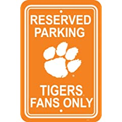 Buy NCAA Clemson Tigers 12-by-18 inch Plastic Parking Sign by BSI