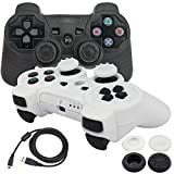 BlueLoong PS3 Controller Wireless Double Shock Black and White 2 Pack