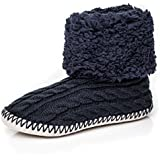 Noble Mount Womens Fuzzy Delight Cable Knit Indoor Short Boot Slippers