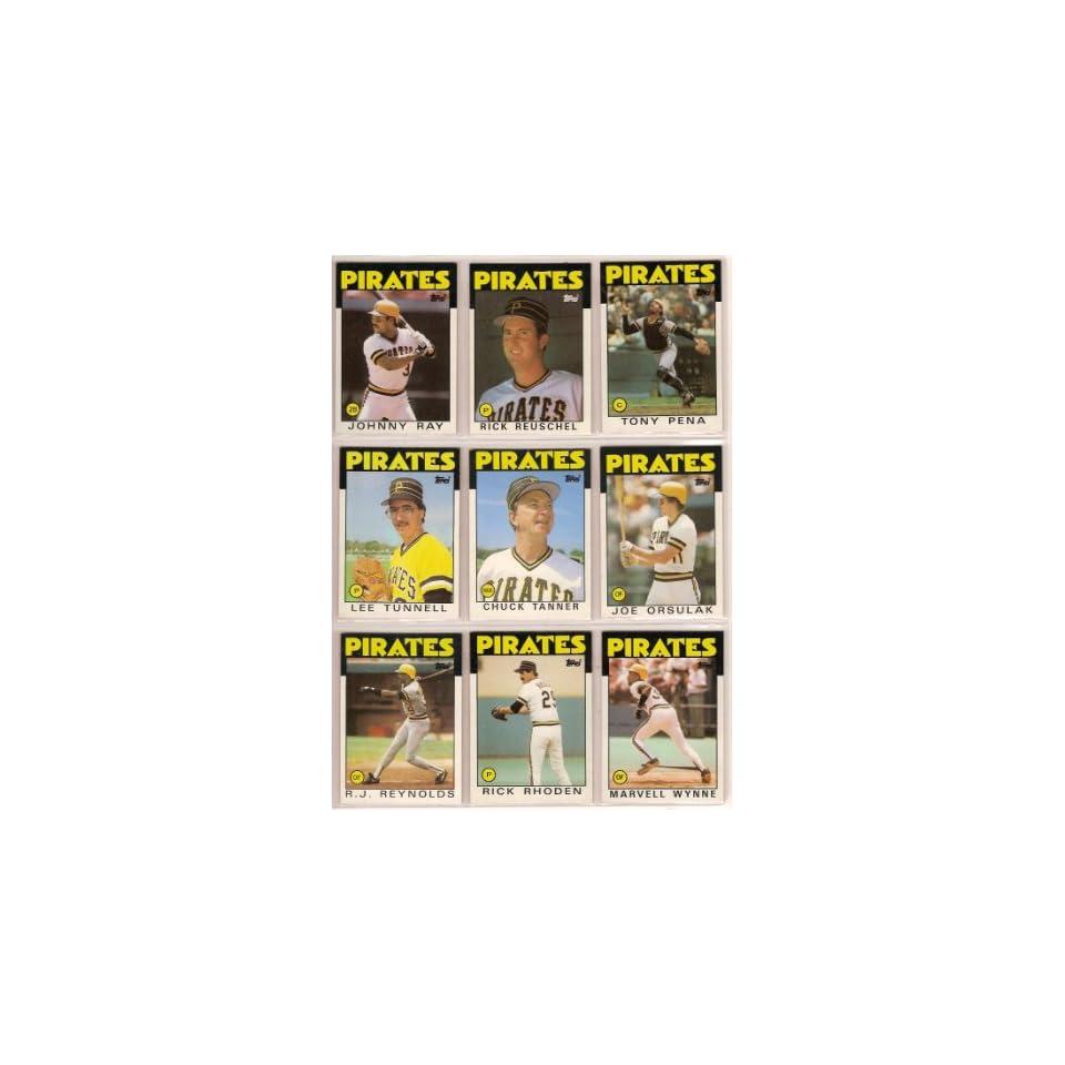 Pittsburgh Pirates 1986 Topps Baseball Team Set (AND RECEIVE A FREE DAVE PARKER 1982 TOPPS CARD) (Chuck Tanner) (Joe Orsulak) (Lee Tunnell) (Rick Rhoden) (Tony Pena) (Steve Kemp) (RJ Reynolds) (Marvell Wynne) (Jim Morrison) (Lee Mazzilli) (Sid Bream) (Rick