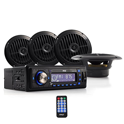 Pyle PLMRKT14BK Stereo Radio Headunit Receiver & Speaker Kit, Aux (3.5mm) MP3 Input, USB Flash & SD Card Readers, Remote Control, Includes (4) Waterproof 6.5'' Speakers, Single DIN (Black) (Hummer H3 Head Unit compare prices)