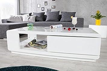 DuNord Design Couchtisch Sofatisch TREND 120cm weiss Hochglanz Design Tisch Lounge Möbel