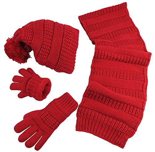 nice-caps-womens-solid-cable-knit-hat-scarf-gloves-accessory-set-one-size-red