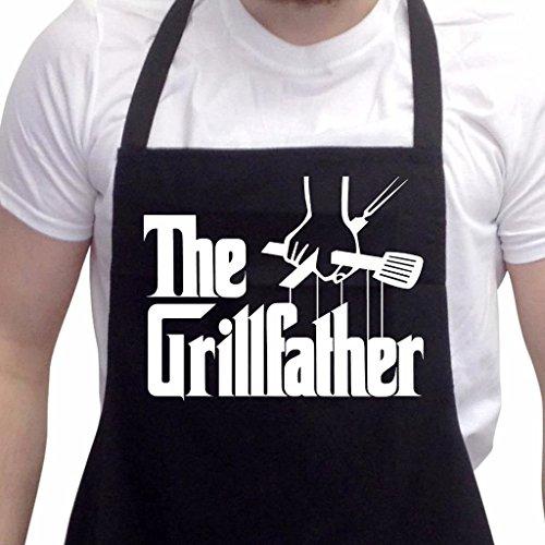 novità - Divertente grembiule da barbecue The Grillfather, grembiuli da uomo idea regalo da cucina
