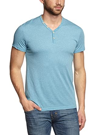 Esprit Men's 054CC2K018 Button Front Short Sleeve T-Shirt -  Turquoise - X-Small