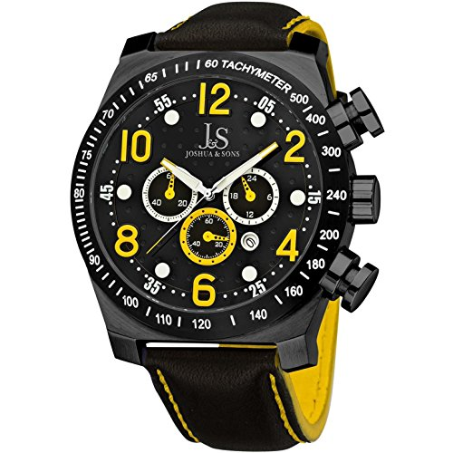 Joshua & Sons Men's 52mm Chronograph Black Steel Bracelet Quartz Watch JS-14-YL