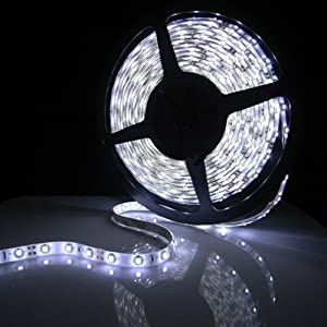 All Five Stars Ultra Bright 16.4 ft 5 Meters Waterproof 3528 SMD 300 LED Cool White Strip Lights DC 12V for Indoor Decorative (Cool White) from All Five Stars