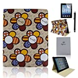 Case-online for Apple Ipad Mini Luxury Pu Leather Flip Folio Stand Magnetic Cover Smart Case+Stylus+Protect or - Beige