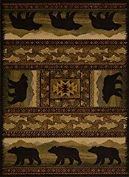 United Weavers of America Affinity Collection Black Bears Rug, 5-Feet 3-Inch by 7-Feet 2-Inch, Brown by United Weavers