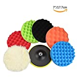 GAMPRO 8pcs 7 inches Compound Drill Buffing Sponge Pads Kit for Car Sanding, Polishing, Waxing, Sealing Glaze (6 Polishing Pads+1 Woolen Buffer+1 Thread Drill Adapter with Shank)(7