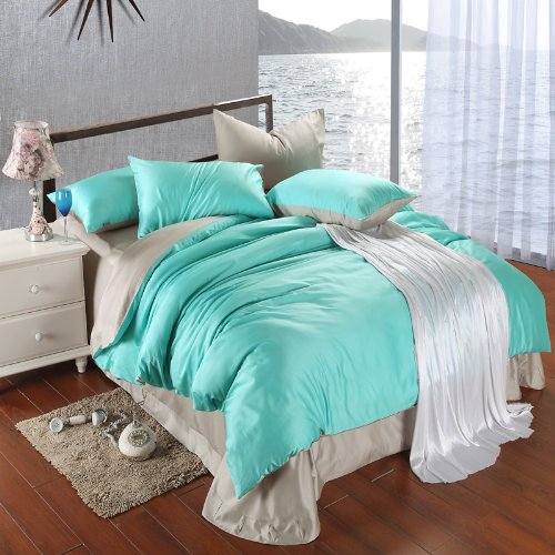 Grey And Turquoise Bedding 9319 back