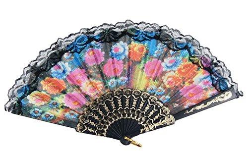 Black, Gold Tone, Fuchsia Lace Trim Black Plastic Ribs Flower Print Foldable Dancing Hand Fan