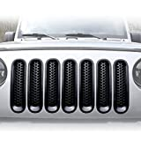 [Upgrade Clip in Version] ICARS Matte Black Mesh Grill Insert Jeep Grille Guard For 2007-2015 Jeep Wrangler JK Unlimited Rubicon Sahara - 7PCS
