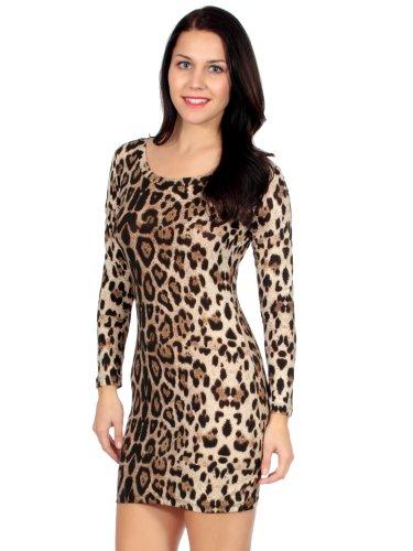 Simplicity Short/Sexy Dress W/ A Crew Neck & Long Sleeves, Leopard Print, Yellow