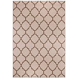 Teppich Ornament Geometrisch Ornate Maschinell Gewebt Braun, Beige oder Silber in 2 Größen, Farbe:Beige;Größe:133 x 190 cm