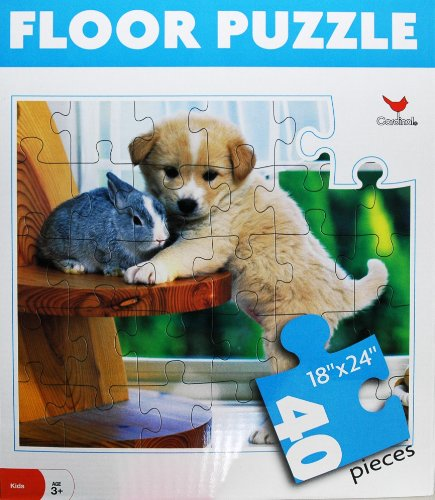 Cheap Cardinal 40-Piece Animal Floor Puzzle, 18″ x 24″ – Puppy and Rabbit (B0039P8E4M)