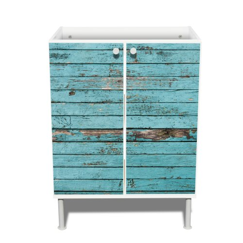 Neu Moderner Waschbeckenunterschrank mit Motiv: Blaue Holzlatten