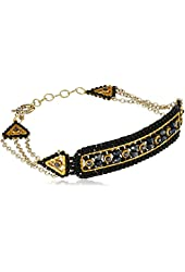 Miguel Ases Black Quartz and Swarovski Curved Rectangle Identification Bracelet