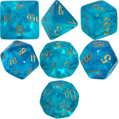 Chessex Dice: Polyhedral 7-Die Borealis Dice Set - Teal with Gold Numbers CHX-27486