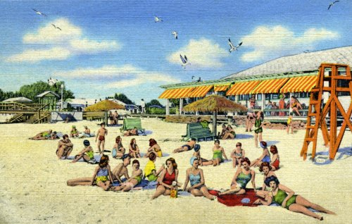 """Clearwater Beach Scene, ca. 1950 - Fine-Art Gicl??e Photographic Print - 8""""x10"""" Enlargement from a Classic Vintage Postcard"""