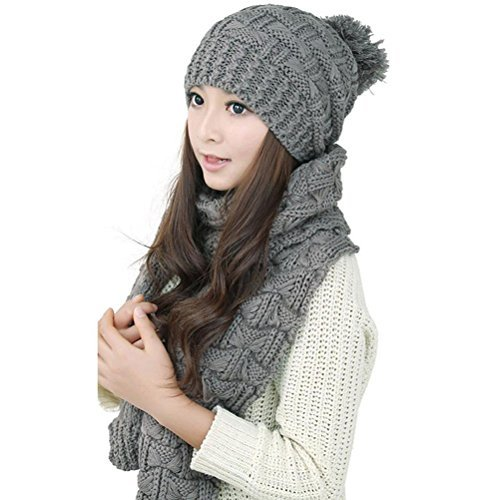LEORX Women Winter Knitted Thicken Hat Cap and Scarf Set (Grey)