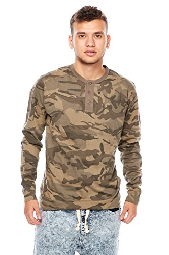 Mens Guys Imperious Excellent Camo Henley Long Sleeves Tees Tops TS01 (XL, Grey) (Imperious Camo compare prices)