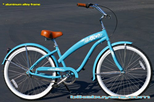 Aluminum Frame, Fito Modena Alloy Shimano 3-speed women's Sky Blue Beach Cruiser Bike Bicycle Micargi Firmstrong Schwinn Style