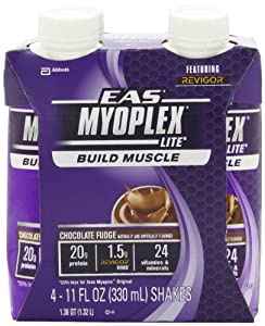 EAS Myoplex Lite Ready-to-Drink Nutrition Shake, Chocolate Fudge, 11 fl. oz.., (Pack of 24) from EAS