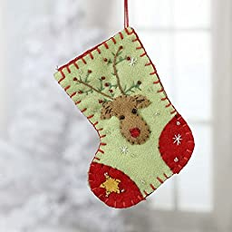 Factory Direct Craft Pair of Hand Stitched and Appliqued Small Christmas Stockings