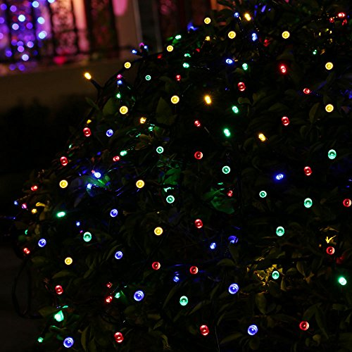 Ledertek Decorative Solar Powered Christmas Lights Multi Color 200 Led 8 Modes Fairy String