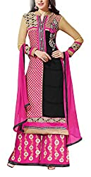 Sara Fashion Women's Georgette Unstitched Dress Material (Pink and Black)
