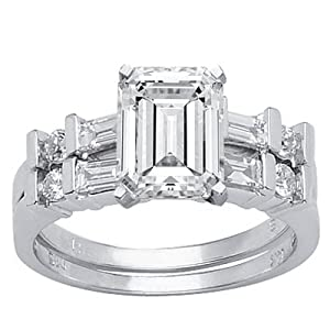 2.23 Carat Emerald Cut / Shape GIA Certified 14K White Gold Channel Set Baguette And Round Diamond Wedding Set ( D Color , VVS1 Clarity )