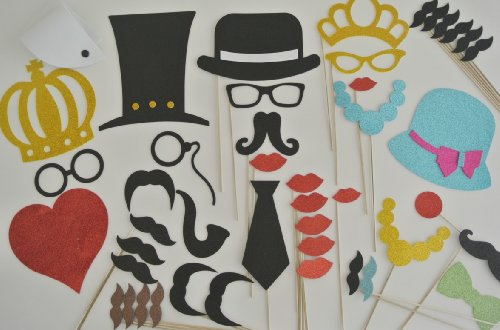 45 Pc Wedding Photo Booth Party Props Glasses Mustaches On A Stick