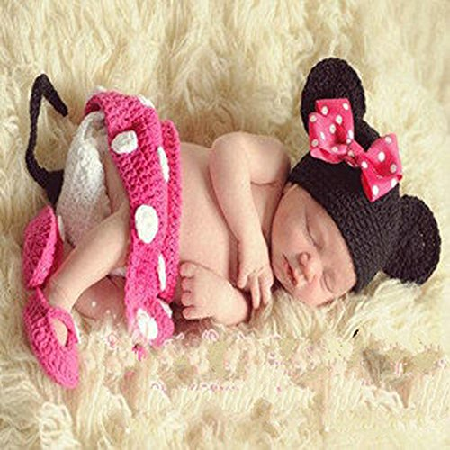 Jastore® Photography Prop Baby Costume Pink Mouse Crochet Knitted Hat Diaper Shoes