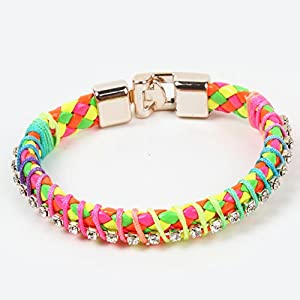 Colorful Rainbow Colors Single-row Diamond Gewebt Damen Armband