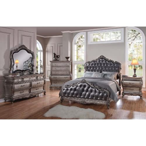 silver finish style beauty chantelle bedroom collection furniture