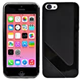PREMIUM QUALITY BLACK V-LINE TPU SLIM FITS SILICON GEL PROTECTIVE CASE RUBBER JELLY BACK COVER FOR APPLE IPHONE 5C