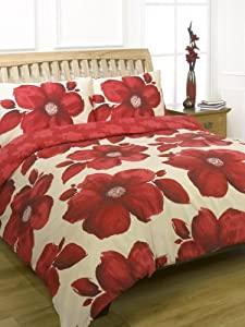 DARK RED POPPIES - KING SIZE DUVET COVER BED SET