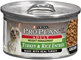 Pro Plan Canned Cat Food, Adult Extra Care Weight Management Ground Turkey and Rice Entrée, 3-Ounce Cans (Pack of 24)