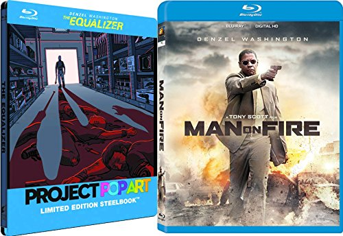 The Equalizer Steelbook + Man On Fire Blu Ray 2 Pack Denzel Washington Action Movie Set