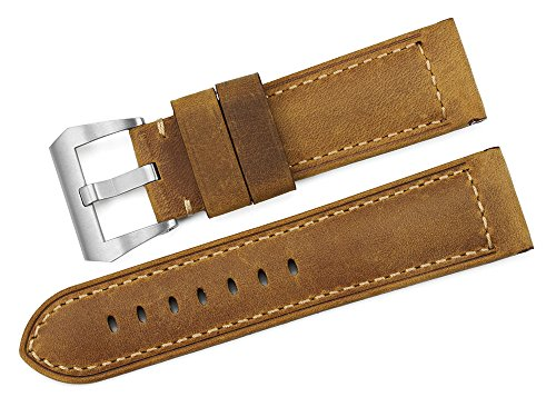 iStrap 24mm Calf Leather Padded Vintage Watch Band Brushed Tang Buckle for Men - Brown