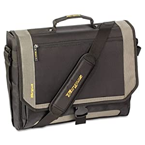 Targus Products - Targus - CityGear Miami Messenger Laptop Case, Nylon, 19 x 5 x 14, Black/Gray/Yellow - Sold As 1 Each - Sporty, lightweight nylon. - Padded compartment protects notebooks. - Zip-down workstation. - Accessory storage, PDA pocket, pen loops, business card holder and key clip. - Removable mobile phone pouch.
